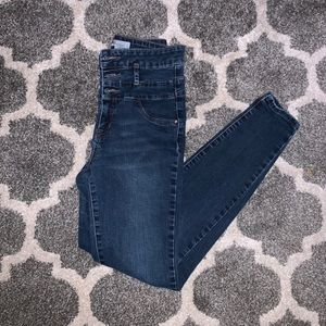 High waisted dark washed skinny jeans